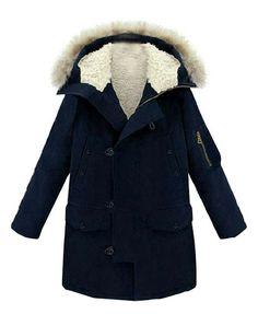 Fur Hooded Long Sleeves Coat