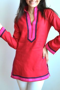 English Red Linen Tunic
