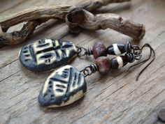 Urban tribal earrings, Rustic ethnic earrings, Earthy bohemian earrings, African talisman earrings, Primitive earrings, Clay drop earrings