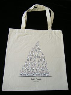 Rabbit Pyramid Tote Bag by bikeparts on Etsy, $15.00