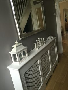 19 Dining Room Ideas >> For More Dining Decor Ideas White Radiator Covers, Grey Hallway, Hallway Colours, Small Hallways, Dining Decor, Hallway Decorating, Grey Walls, Home Decor Inspiration, New Homes