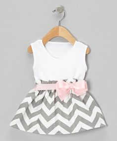Look at this #zulilyfind! Caught Ya Lookin' Gray Zigzag Bow Dress - Infant by Caught Ya Lookin' #zulilyfinds