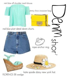 """""""#denim shorts"""" by l00pyl0llypop on Polyvore featuring Glamorous, WithChic, Qupid, Kate Spade, Jimmy Choo, jeanshorts, denimshorts and cutoffs"""