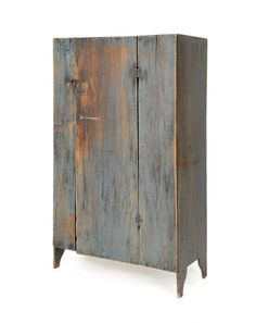 Blue painted pine cupboard, c., 53 h. on Jun 2011 Country Cupboard, Antique Cupboard, Country Primitive, Shaker Furniture, Custom Furniture, Cool Furniture, Cabin Furniture, Primitive Painted Furniture, Distressed Furniture