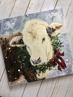 christmas paintings Christmas Cow Art P - christmas Silver Christmas Decorations, Cow Painting, Nativity Painting, Christmas Truck, Christmas Ornament, Christmas Christmas, Ornaments, Farm Art, Cow Art