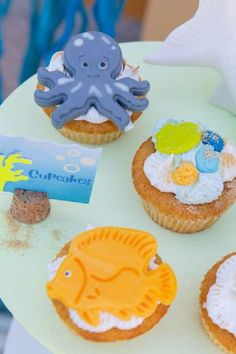 Take a look at this wonderful under the sea birthday party! The cupcakes are so cute! See more party ideas and share yours at CatchMyparty.com #catchmyparty #partyideas #underthesea #undertheseaparty #boybirthdayparty #cupcakes