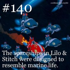 Cool Disney Facts: The spaceships in Lilo Stitch were designed to resemble marine life. Disney Fanatic, Disney Nerd, Disney Addict, Disney Memes, Disney Quotes, Cute Disney, Disney Stuff, Princess Disney, Disney Disney