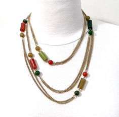 Multi Color Bakelite Necklace  Double Chain Wrap Around  Marbleized Bakelite Beads  Shades Of Greens Orange Tubular And Round Vintage 1940's