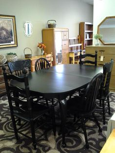 Black Table and Mixed-Matched Chairs, purchased and customized here at the shop