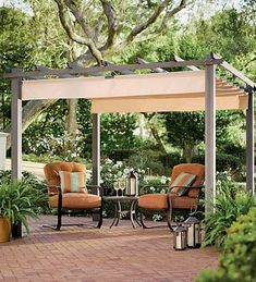 Retractable awning for pergola--essentially roman shade that the rods are hung on hooks.  Can be slid open for sun or closed for shade.