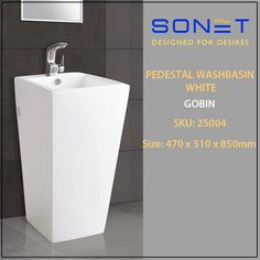 PEDESTAL WASHBASIN WHITE GOBIN by Sonet India SKU: 25004 Size: 470 x 510 x 850mm visit http://sonetindia.com  for more