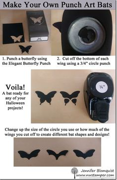 Make Your Own Punch Art Bats for Halloween How to make a bat from butterfly punch Really want excellent tips and hints regarding arts and crafts? Head out to this fantastic info! Card Making Tips, Card Making Techniques, Making Ideas, Paper Punch Art, Punch Art Cards, Halloween Punch, Halloween Cards, Paper Piecing, Craft Punches