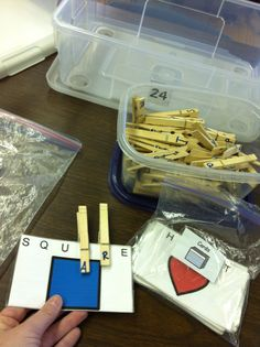 Match lettered clothes pins to notecards with words.