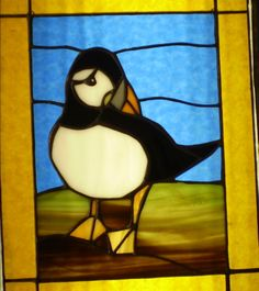 """Puffin panel 11""""x14 $100 Stained Glass Birds, Stained Glass Projects, Stained Glass Patterns, Tiffany Glass, Glass Animals, Sea Birds, Sun Catcher, Newfoundland, Colored Glass"""