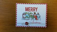 Part of a Christmas card set that I designed.  Stamp:  Stampin'up Holiday Lineup.