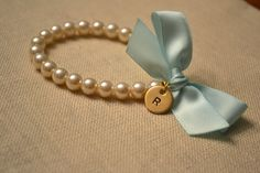 Mini Ella - with charm - Ivory Pearl Bracelet, Mint Ribbon Bow, with Hand Stamped Initial Charm Bridesmaid Accessories, Bridesmaid Jewelry Sets, Bridal Jewelry Sets, Bridal Sets, Wedding Jewelry, Bridesmaid Bracelet, Bridal Bracelet, Pearl Bracelet, Wrist Corsage