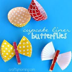 Learn how to make a cupcake liner butterfly using a clothespin, glitter, and glue! It's a great idea for magnets.