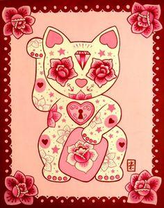 kittykawaiii: Maneki Neko. Acrylic on canvas 2010