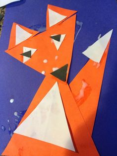 Triangle crafts triangle craft for kindergarten the backup learning shapes with triangle fox craft triangle art Fall Preschool, Kindergarten Crafts, Preschool At Home, Preschool Activities, Shape Activities, Fox Craft Preschool, Fox Crafts, Animal Crafts, Diwali Activities