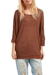 SOLID 3/4 SLEEVED TOP, Arabian Spice