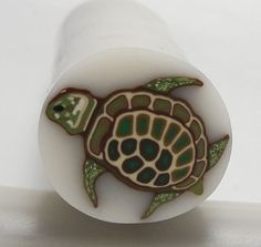 Polymer Clay Cane Green Turtle by sevenwestdesigns on Etsy, $7.25