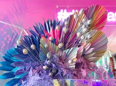 Rainbow Wedding Decorations, Paper Fan Decorations, Marie's Wedding, Wedding Gifts, Flower Shop Design, Floral Design, Floral Centerpieces, Flower Arrangements, Rainbow Theme