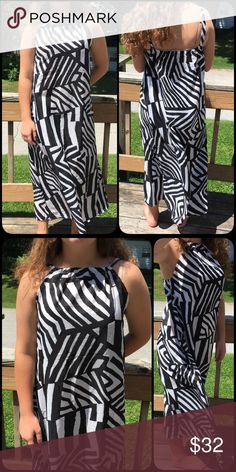 List! Black/White Print Halter Maxidress! NEW! Sheath maxi style dress in fun black & white print! Rayon/chiffon blend is light and flowy. NWOT only worn to model. Model is a size 8 medium 64 inches tall. Boutique Dresses Maxi