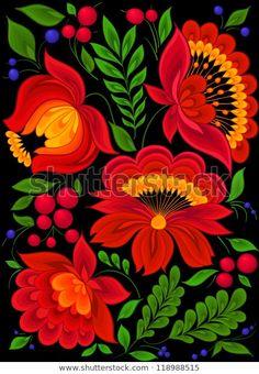 Art Floral, Motif Floral, Folk Art Flowers, Flower Art, Mexican Flowers, Polish Folk Art, Mexico Art, Scandinavian Folk Art, Folk Embroidery