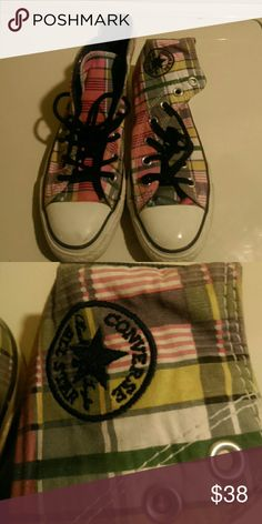 Converse...Men's Sneakers Gently used...high tops..plaid...Men size 4...women's size 6.5...buy!! You change shoe strings to make them pop!  Hi Converse Shoes Sneakers