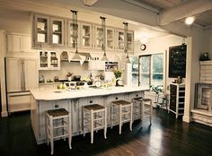 antique white coastal cottage kitchen   ... my pal Kim and her incredibly beautiful, incredibly WHITE kitchen