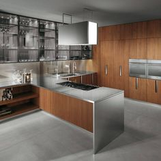 contemporary kitchen cabinets | Contemporary wood and steel kitchen cabinet