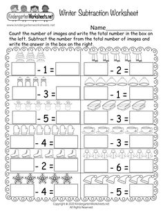 Kids can practice counting and subtracting winter-themed pictures by completing a series of incomplete subtraction problems. Children are asked to count the number of pictures above each math problem and then use that number to successfully complete each single-digit subtraction problem.
