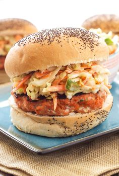 Teriyaki Salmon Burgers with Asian Slaw - Recipe Runner Teriyaki Salmon Burgers with Asian Slaw by reciperunner: This healthy Asian inspired salmon burger is perfect for grilling season! Slaw Recipes, Salmon Recipes, Fish Recipes, Seafood Recipes, Cooking Recipes, Healthy Recipes, I Love Food, Good Food, Yummy Food