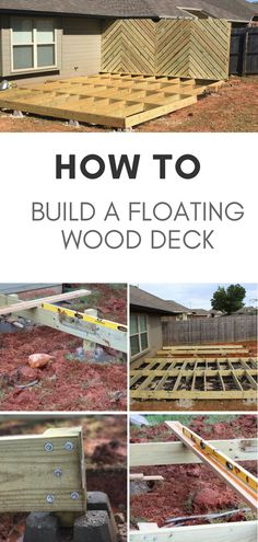 Learn how to build a floating wood deck in your own yard this summer - Home & DIY Porches, Deck Building Plans, Wood Deck Plans, Laying Decking, Deck Construction, Wood Patio, Wood Decks, Wood Deck Designs, Diy Deck