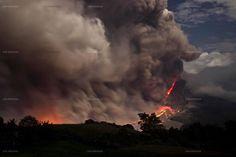 Sinabung volcano spewing ash and hot lava, Karo, Indonesia.