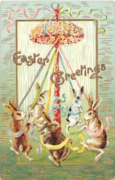 Easter Greetings fantasy bunnies dancing with ribbon antique postcard V5303