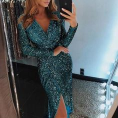 Attractive V-neck Prime Slit Birthday celebration Get dressed Girls Glitter Sequined Bodycon Get dressed