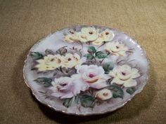Decorative Serving Plate, Platter, Porcelain, Fine China, Hand Painted, Ucargo Ceramics, Japan, Yellow Roses, Scalloped Edge, TKSPRINGTHING. $16.95, via Etsy.