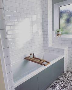 White & grey bathroom with metro tiles and patterned floor Family Bathroom, Downstairs Bathroom, Bathroom Renos, Bathroom Ideas, Bathroom Stuff, Bathroom Designs, Small Bathroom, Gray And White Bathroom, Grey Bathrooms