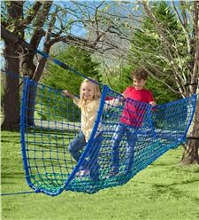 Rope Balance Bridge adds a balance of active and imaginative play to your backyard. Kids enjoy thrilling adventures as they climb across this heavy-duty, reinforced rope bridge x 400 lbs. weight) over imagined ravines and wild jungle-scapes. Kids Outdoor Play, Outdoor Play Spaces, Backyard For Kids, Outdoor Fun, Natural Playground, Backyard Playground, Toddler Playground, Backyard Fort, Backyard Obstacle Course