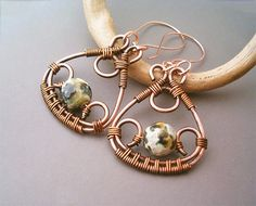 Wire Wrapped Earrings Copper and Green FireCrackle by GearsFactory, €16.00