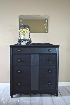 Absolutely beautiful dresser makeover - The Shimmer of Metallic Cream - at Recreated Designs.