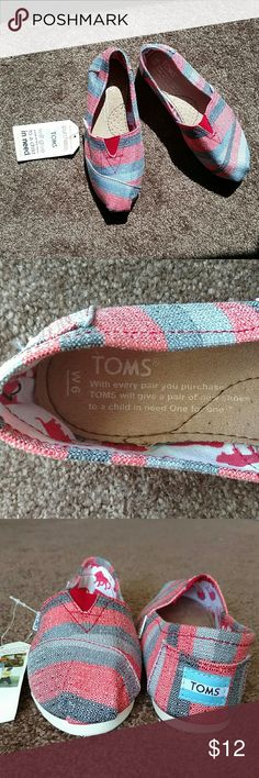 TOMS SHOES Shades of gray & red stripes slip on Toms Shoes Sneakers