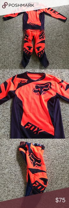 Fox Racing 180 Youth Motorcross Riding Gear Fox Racing Youth 180 Motocross Race Pants and Jersey Condition: Good - 2 snags on the front of the jersey from normal wear Colorway: Neon Orange and Navy Blue Jersey - Youth L Pants - size 24 (inches), hip pads not included   SOLD TOGETHER Fox Matching Sets
