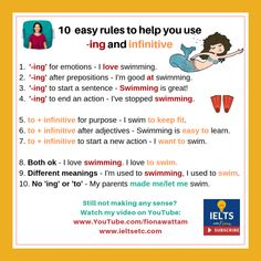 Grammar for IELTS: When to use '-ing' forms and infinitives - IELTS with Fiona Learn English Grammar, English Writing Skills, English Lessons, English Vocabulary, Teaching English, English Exam, English Tips, French Lessons, Spanish Lessons