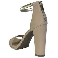 72b3b0428c6c Bamboo Women s Single Band Chunky Heel Sandal with Gold TPU Ankle Strap    Be sure to