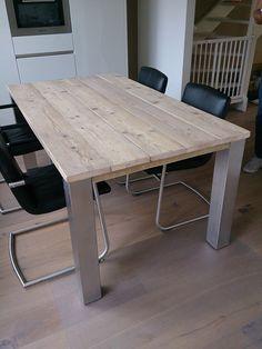 houten tafel met rvs poten - Google zoeken