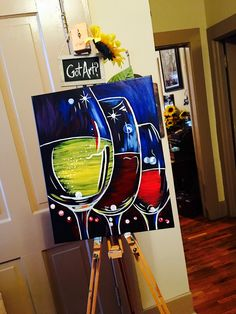 Wine Tasting! / Paint & Sip Party Sample Painting on Canvas / Rose 'n' Vine 630-448-2278 Painted by Jillianne Renee