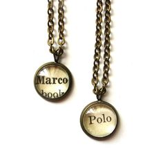 nerd best friend necklaces | Marco Polo Matching Best Friend Necklaces Vintage Library Card Charms ...