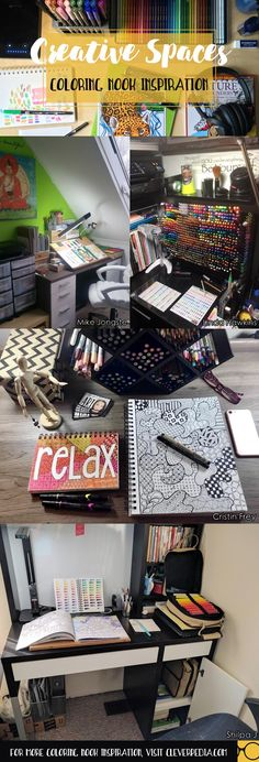 Lots of inspiration for building your own 'creative nook,' a place you can devote to coloring and lots of other crafts! Great ideas for organizing art supplies!